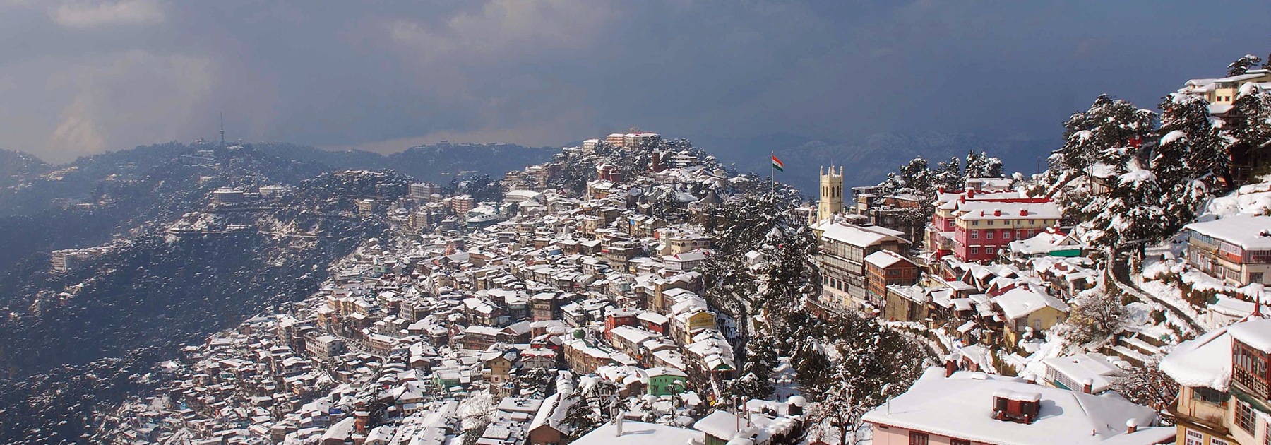 Snow lies on rooftops in Shimla, after heavy winter showers. (STR/AFP/Getty Images)