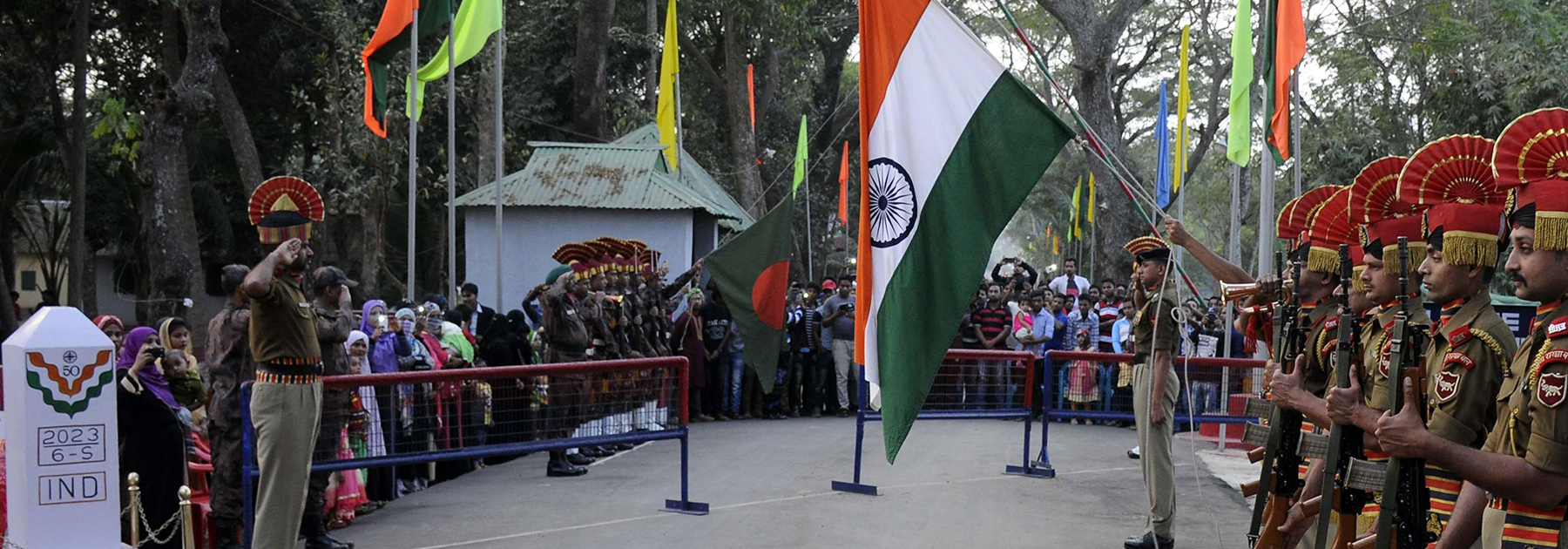 Indian Border Security Force (BSF) personnel during the Beating Retreat ceremony on the India Bangladesh border at Akhaura Integrated Checkpost in Agartala on February 14, 2017. (ARINDAM DEY/AFP/Getty Images)